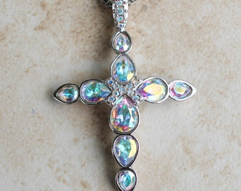 Gorgeous Vintage Aurora Borealis Cross Necklace, Wonderful detail in this Large Cross with Chain, Inarajewels