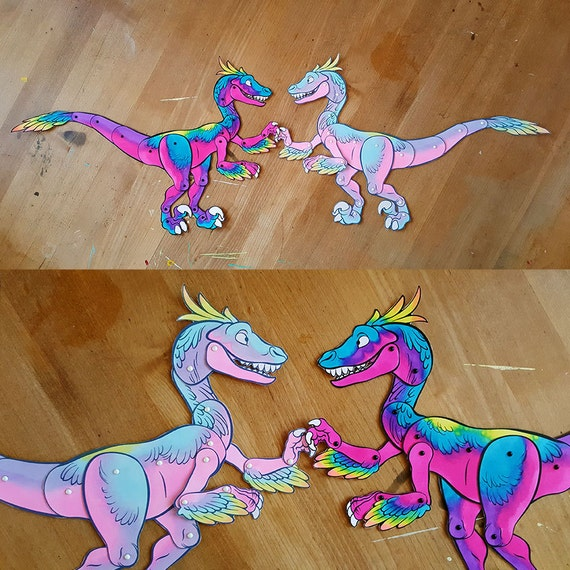 Velciraptor Paper Doll DIY and Young Adult Digital Download Dinosaur Craft