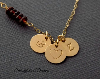 Heart initial necklace, gift for girlfriend, mothers necklace of two children, gold jewelry, Children's initials, Garnet gemstone, two