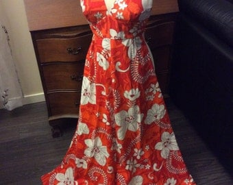 vintage retro ALOHA  ...   Backless MAXI DRESS Retro vintage vacation Nostalgia  ...