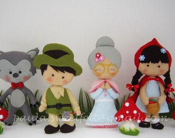 Set of 4 decorative figurines Little Red Riding Hood/ Granny / Woodman / Big Bad Wolf / Party decorations / Babyroom decoration