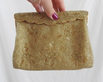 Vintage Gold Beaded Clutch Purse