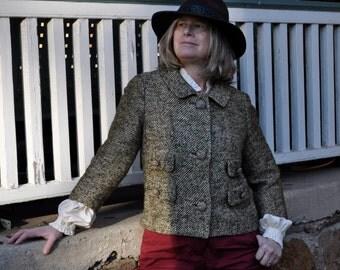 Vintage Wool Tweed Jacket/Vintage 1960s/Boxy Crop Nubby Green Jacket/Size Small