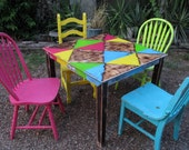 Special listing for Carly colorful painted dining table with 4 chairs SOLD similar set available custom request yours today