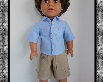 Blue Chambray Camp Shirt, Khaki Cargo Shorts, and Sneakers for 18 Inch Boy Dolls Such as American Girl