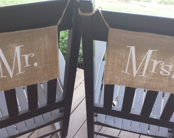 Burlap Chair Banners, Chair Signs, Mr and Mrs Banners, Chair Banners, Burlap Wedding, Rustic Chair Signs, Rustic Wedding
