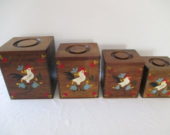 Vintage Rooster Wood Canister 's - Four Piece Nesting Canisters
