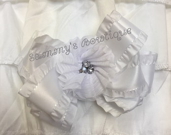 White large hair bow with chiffon puff