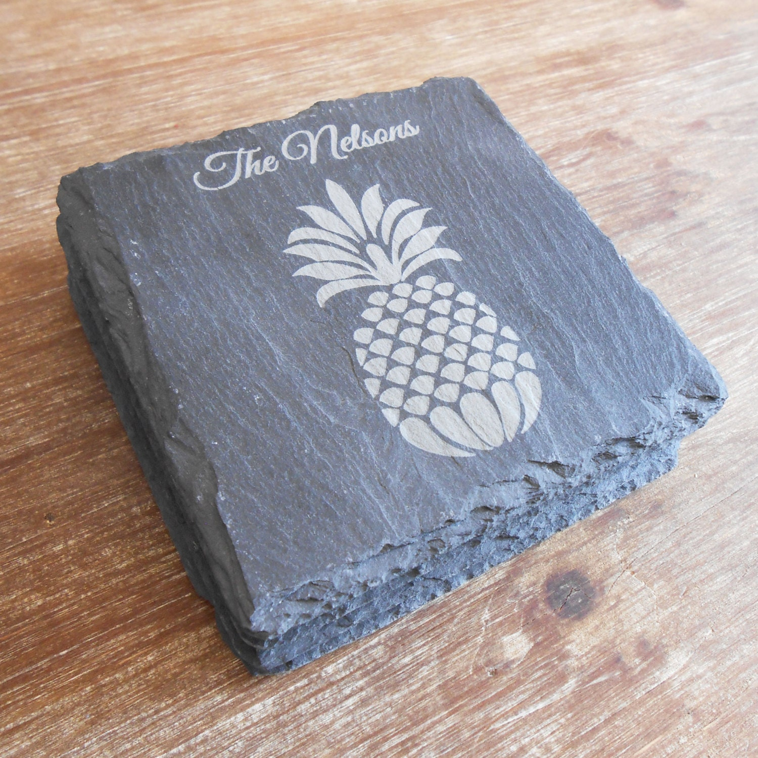Set Of 4 Personalized Pineapple Slate Coasters Personalized
