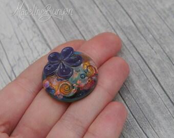 Rainbow Garden, purple flower, Lampwork cabochon