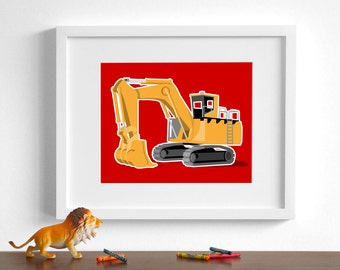 Construction Boys art - Excavator construction art - pick your colors - Tractor wall art  - boys nursery art prints