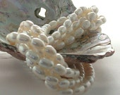 Fresh Water Pearls, Crème Color Fresh Water Pearls, Heirloom White Beads, Rice Shape Fresh Water Pearls FWP-037