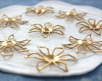 Raw Brass Flower Stampings, Brass Stampings, Raw Metal Flowers, Vintage Style Metal Flowers, Made in America USA ~  STA-174