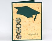 Graduation Card in Green and Yellow, College and High School Graduation, Congratulations Grad, Graduation Cap, Handmade Notecard