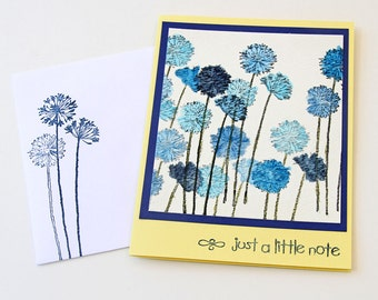 Watercolor Greeting Card with Blue Agapanthus, Lily of the Nile, Just a Little Note, Stamped Watercolor Image, Handmade Yellow and Blue Card