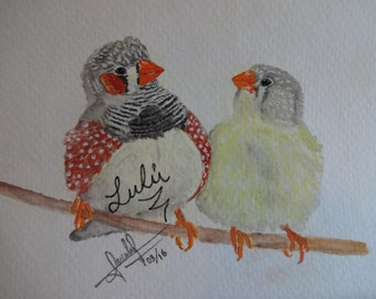 original, cute, painting, birds, water color