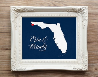 Florida  or any state Wedding Gift - Personalized - Anniversary - Custom Wedding Date - Location City and State Modern Art Print Valentine's