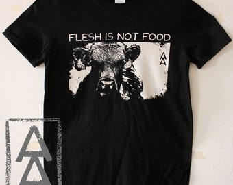 flesh is not food vegan animal rights shirt punk