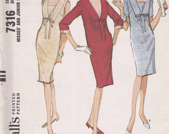 Uncut Vintage 1964 McCalls #7316 Retro Womens Shift Dress Sewing pattern Size 12 bust 32""