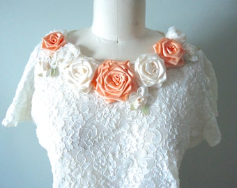 Peach Rose Decorated Lace Top, Larger Size White Lace Blouse, Coral Roses, Summer Flowers Top, Boho Lace Top, Bohemian Fashion, Altered Top