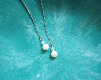 Aqua Blue Crystal Earrings,Pearl Threader StyleEarrings,Light Blue Bohemian Wedding Earrings,Chain Earrings,Long Dangle Earrings, Minimalist