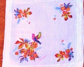 Vintage cotton hanky with Tanager songbird