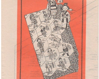 1950s - Laura Wheeler Mail Order Design 715 Vintage Pattern Embroidered Quilt Around The Work Culture Countries Transfers