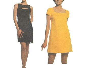 McCalls 8738 1990s Sewing Pattern Sizes 4/6/8 Laundry Shelli Segal Fitted Dress Darts Sleeveless Keyhole