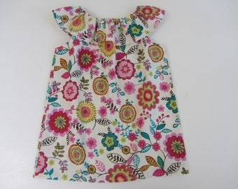Back To School Fall Floral Ruffle Peasant Tunic Top size 7 8 Ready To Ship Sample Sale
