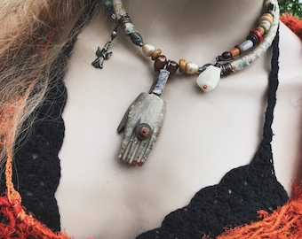 Tribal assemblage choker necklace   amulet necklace, beaded choker, hand charm, rustic assemblage, sari silk, rustic bohemian