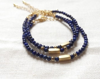 Petite Stack Bracelet - Beaded Lapis Lazuli with Brass. Wrist Candy