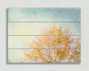 Modern Plank Art, Yellow and Blue Wooden Sign, Fall Tree Picture, Rustic Nature Wood Artwork, Oversized Wall Art, Wood Panel Wall Decor