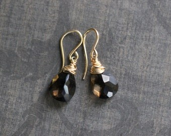 Smoky Quartz Earrings, Gemstone Earrings, Wire Wrapped, Gold Fill, Sterling Silver, Dangle Earrings, Brown, Gold, Earthy, Neutral
