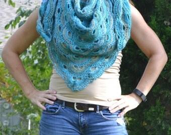 Turquoise variegated virus shawl
