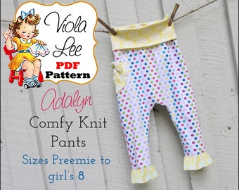 Adalyn, Baby Sewing Pattern, Toddler Pants Pattern, pdf. Girl's Sewing Pattern. Knit Leggings Toddler Sewing Pattern. Infants Pant Pattern.
