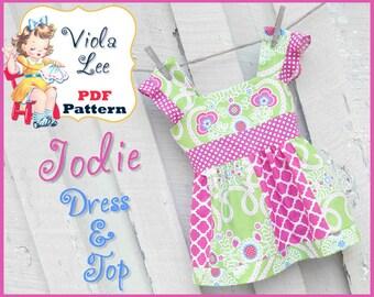 Jodie... Toddler Dress Pattern, Girl's Sewing Pattern. Girl's Dress Pattern. Girl's Top Pattern,  pdf Sewing Pattern. 12mo- girl's 8