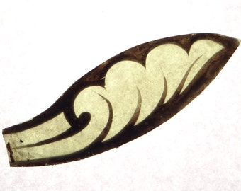 1800's Antique Stained Glass Leaf Fragment, Gothic Church Window Leaf