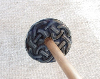 support spindle with ceramic whorl and handturned hardwood shaft.