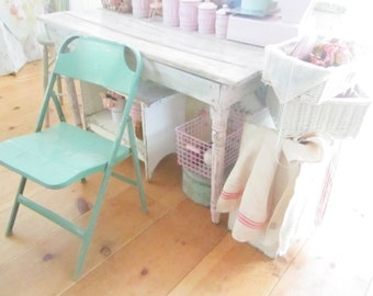 Shabby chic minty green metal chair shabby decor prairie cottage