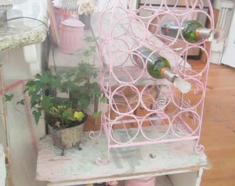 Vintage wine  holder shabby chic Romantic prairie style shabby pink vintage