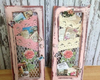 Dollhouse Miniature Shabby Chic Cottage Chic Farmhouse Vintage Victorian Style Pink Memory Board