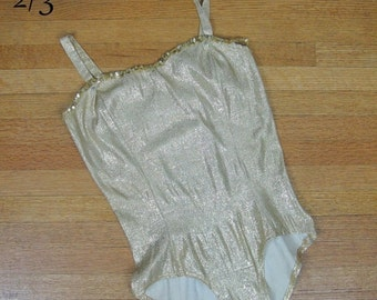 25% Off Summer Sale.... Vintage 1950's Gold Lame Showgirl Costume 50s Burlesque Bodysuit Size M/L