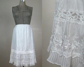 Vintage 1950s Cotton Ruffle Slip 50s Cotton Lace Half Slip by Garcrest Size M