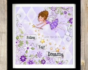 Fairy Art Print ~ Childrens Wall Art ~ Fairy Decor ~ Purple ~ Nursery Wall Art ~ Fairy Theme ~ Print ~ Nursery ~ Girls Room~ Wall Art Print