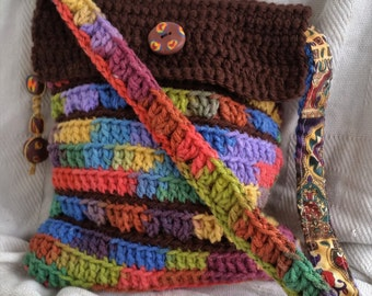Earthy Rainbow Bag, crocheted shoulder bag with handmade clay embellishments, hippie bag, hippie purse, gypsy bag