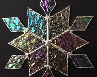 stained glass snowflake suncatcher (design 33)