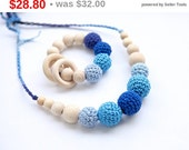 Sale! Set of 2. Natural nursing rings necklace and teething ring toy. Shades of blue new mom and baby set