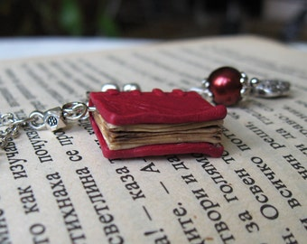 Antique Book Charm necklace, Book miniature necklace, Realistic mini books, Polymer clay miniatures, Cherry charm