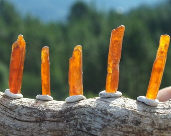 Orange Kyanite Crystals, 5, Semi Polished, Untreated, Raw Real Kyanite Mineral, Wire Wrap Supply, 4.5g / 21 - 26mm  Clairsentience  (39-419)