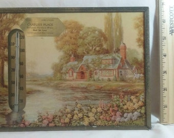Vintage G.B. Fox picture advertising with thermometer English  cottage